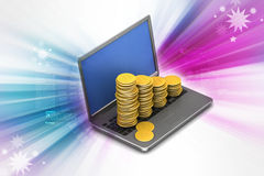 Gold coins graph  with laptop Stock Photography