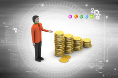 Gold coins graph  with man Stock Photography