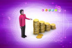 Gold coins graph  with man Stock Image