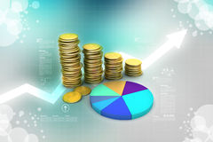 Gold coins graph  with pie chart Royalty Free Stock Image