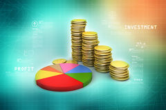 Gold coins graph  with pie chart Royalty Free Stock Photo