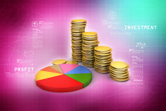 Gold coins graph  with pie chart Stock Images