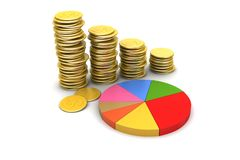 Gold coins graph  with pie chart. In white background Stock Photo