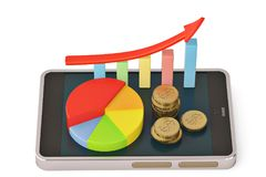 Gold coins and graph with red arrow on smartphone mobile.3D illu. Stration Stock Photo