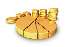 Gold coins and graph. Stock Photo