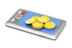 Gold coins graph  with smart phone. In white background Stock Photography
