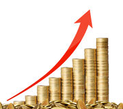 Gold the coins and graph them Royalty Free Stock Photos