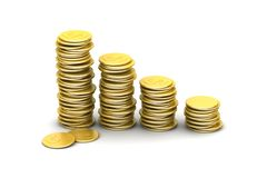 Gold coins graph Royalty Free Stock Photography