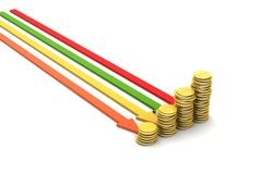 Gold coins graph Stock Photography
