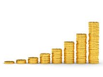 Gold coins graph. Stock Image