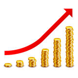 Gold coins growth graph isolated on white vector Royalty Free Stock Images