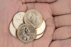 Gold Coins Held in Hand royalty free stock photo