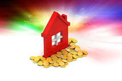 Gold coins with home Stock Photography