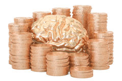 Gold coins with human brain, 3D rendering. On white background Stock Photo