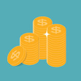 Gold Coins  Icon Sign Business Finance Money Concept Vector. Illustration EPS10r Stock Image
