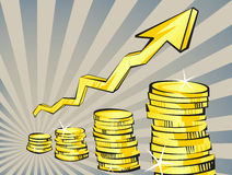 Gold coins with increasing arrow in retro cartoon style. Perspective view. Golden money  illustration. Business success, dep. Osit, investment, saving, fortune Stock Photography