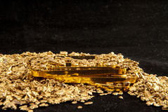 Gold coins, ingots, bars, dust and nuggets Stock Images