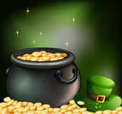 Gold coins inside a pot and a green hat Royalty Free Stock Images