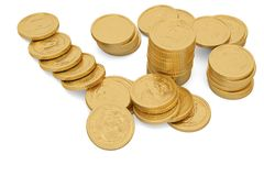 Free Gold Coins Isolated On White Background 3D Illustration. Royalty Free Stock Image - 126839396