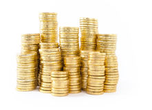 Gold coins isolated Stock Photography