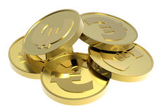 Gold coins isolated on a white background. Computer generated 3D photo rendering Stock Photography