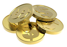 Gold coins isolated on a white background. Computer generated 3D photo rendering Royalty Free Stock Image