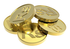 Gold coins isolated on a white background. Computer generated 3D photo rendering Stock Photo