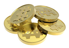 Gold coins isolated on a white background. Computer generated 3D photo rendering Royalty Free Stock Photography