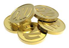 Gold coins isolated on a white background. Computer generated 3D photo rendering Royalty Free Stock Photo