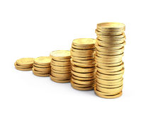Gold coins isolated on white background Royalty Free Stock Images