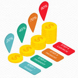 Gold coins in isometric. The income growth. Stock Photo