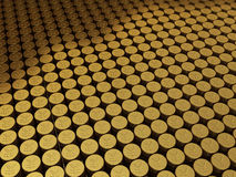Gold coins japan yen signs. 3d render Gold coins japan yen signs stacking (depth of field Royalty Free Stock Photo
