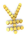 Gold coins japan yen signs Royalty Free Stock Image