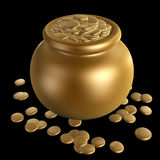 Gold coins in jar Royalty Free Stock Photos
