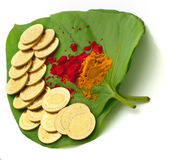 Gold coins kept on betel leaf Stock Image