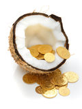 Gold coins kept inside a coconut. Many gold coins kept inside a half coconut Royalty Free Stock Images
