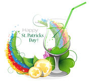 Gold coins and leprechaun cocktail with rainbow Royalty Free Stock Photo