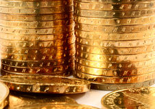 Gold coins macro Royalty Free Stock Photography