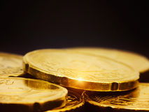 Gold Coins Macro Stock Image