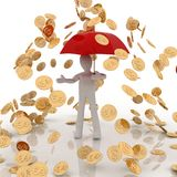 Gold coins and man Royalty Free Stock Images
