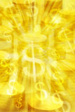 Gold Coins Money Background. Gold colored background with coins, golden light and dollar symbols Stock Images