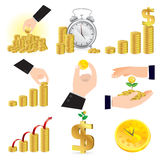Gold coins and money set Stock Images