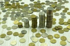 Gold coins nobody number objects pattern rate,. Gold coins nobody number objects pattern rate Stock Photos