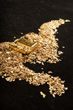 Gold in coins, nuggets and ingots Royalty Free Stock Photo
