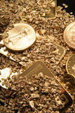 Gold in coins, nuggets and ingots Stock Photos