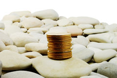Free Gold Coins On The Stones - Isolated Royalty Free Stock Image - 8441046