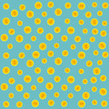 Gold coins pattern. illustration on a blue background. Stock Photo