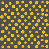 Gold coins pattern. Illustration on a gray background. Stock Photos