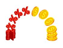 Gold coins and percent signs Royalty Free Stock Image