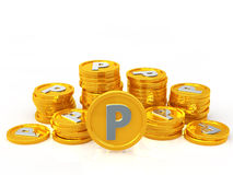 Gold coins point Stock Photo